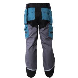 """spodnie czarno-szaro-turkusowe """"xxl"""" z pasami odblaskowymi lahtipro"""
