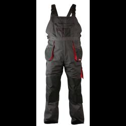 """wytrzymałe spodnie robocze na szelkach """"l"""" (52) szaro-czarne 267g/m2 lahtipro"""