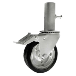 koło do rusztowań metal-guma d=160mm z rurą+hamulec