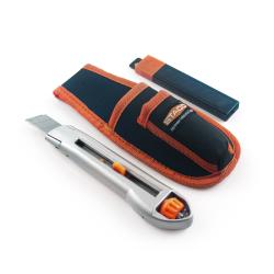 nóż wysuwany do regipsow 18mm + 10 ostrzy + materiałowa kabura staco