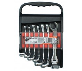 yato zestaw 7 kluczy oczkowych półotwartych z przegubem 8-17mm yt-0190
