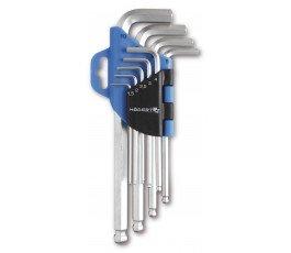 hogert zestaw 9 kluczy sześciokątnych z kulką crv ht1w804