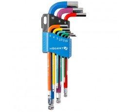 hogert zestaw 9 kluczy 6-kątnych kodowanych kolorami 1.5-10mm ht1w806