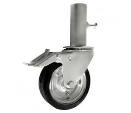 zabi koło do rusztowań 160mm metalowo-gumowe skrętne z rurą i hamulcem zr45nwh