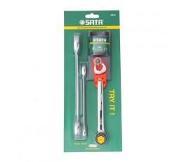 sata zestaw 3 kluczy płasko-oczkowych z podwójną grzechotką 10-17mm s09075