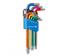 hogert zestaw 9 długich kolorowych kluczy torx ht1w817