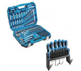 hogert zestaw narzędziowy 222szt + zestaw 18 wkrętaków ht1r444, ht1s098
