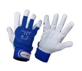 lahtipro rękawice ze skóry bydlęcej granatowo-białe l270610k