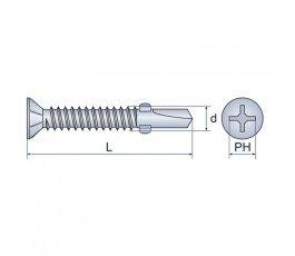 arvex blachowkręt samowiercący z łebkiem stożkowym i frezami bocznymi 4.8x32mm ph2 3047.1001