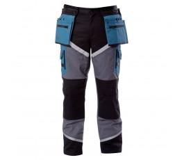 """lahtipro spodnie czarno-szaro-turkusowe z pasami odblaskowymi rozmiar """"xxl"""" l4050205"""