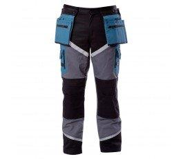 """lahtipro spodnie czarno-szaro-turkusowe z pasami odblaskowymi rozmiar """"m"""" l4050202"""