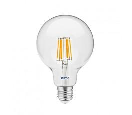 gtv żarówka led filament g95 ciepła biała 3000k e27 8w ld-g95fl8-30