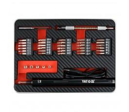 yato precyzyjny wkrętak akumulatorowy 3.6v z zestawem bitów i akcesoriów yt-27930